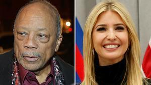 El productor musicalo Quincy Jones e Ivanka Trump, hija del presidente de EEUU