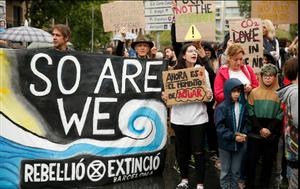 Manifestación juvenil para exigir medidas contra la emergencia climática, en 2019 en Barcelona.