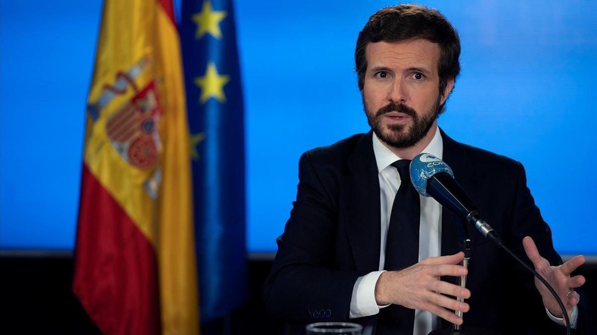 El presidente del Partido Popular, Pablo Casado, durante una entrevista en la COPE.