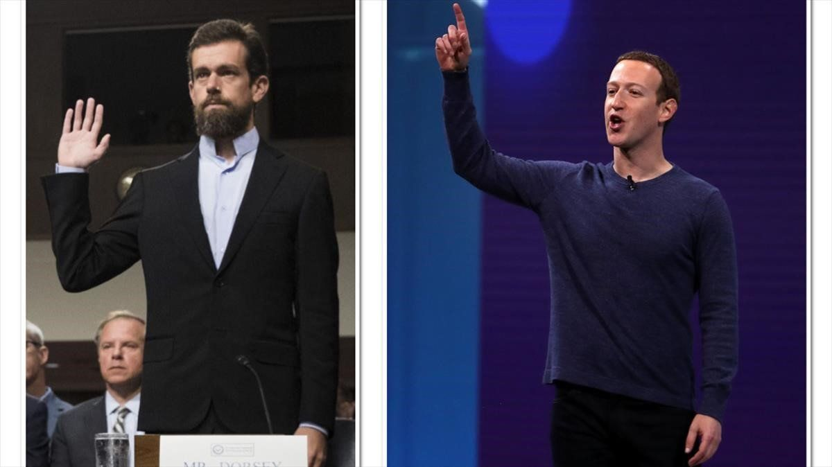 Jack Dorsey, a la izquierda, y Mark Zuckerberg.