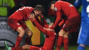Thiago celebra el gol marcado ante el Bochum