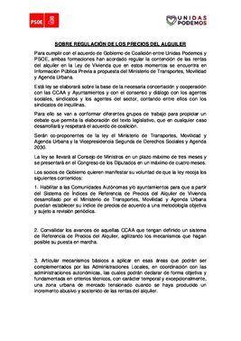 Acuerdo de PSOE y Unidas Podemos para regular el precio de los alquileres y enmendar el ingreso mínimo vital.