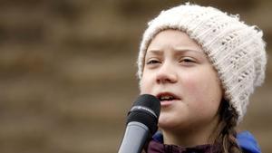 Greta Thunberg, durante un acto para reclamar medidas urgentes contra el cambio climático, en Hamburgo, el pasado 1 de marzo.