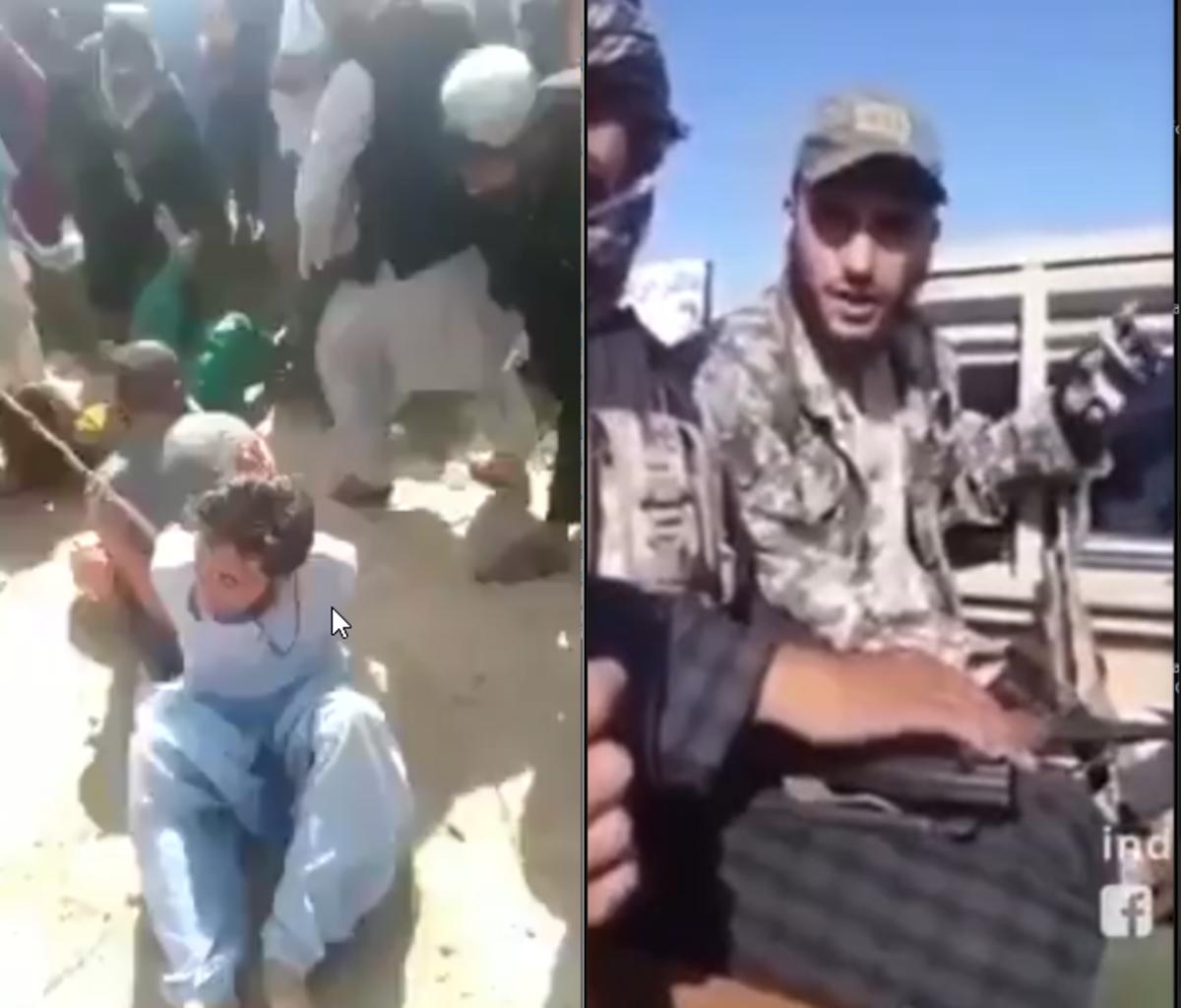 A la izquierda, apaleamiento de ladrones en Kabul una vez restablecida la sharía por los talibanes. A la derecha, alocución de un yihadista desde un frente de guerra. Las dos imágenes pertenecen a la propaganda que consumen los islamistas radicales.
