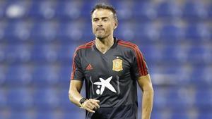 Luis Enrique, con la selección española.