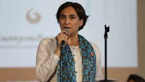 La portavoz de Guanyem Barcelona, Ada Colau, durante la presentación del partido el pasado 26 de junio.