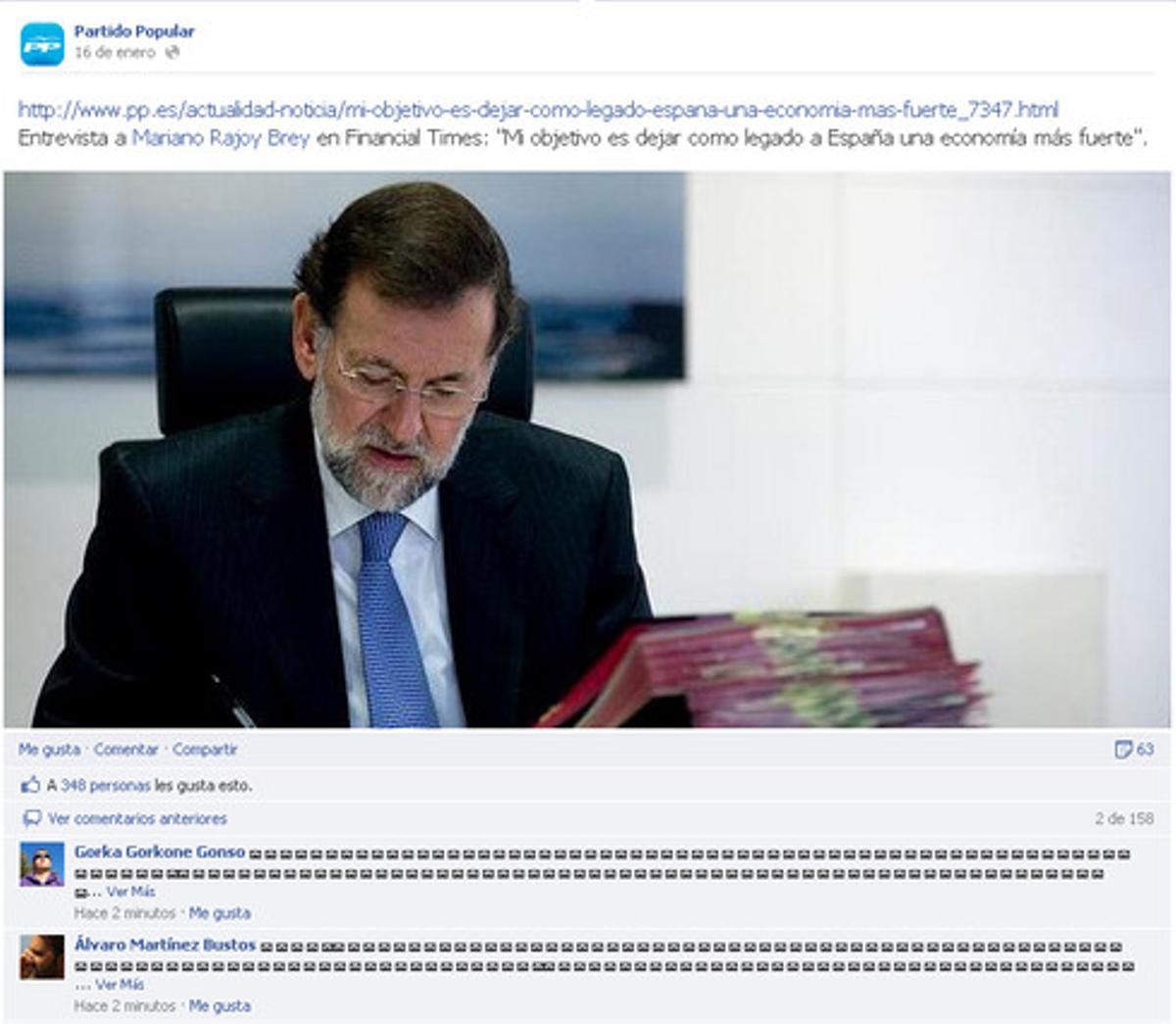 Captura de una información sobre Rajoy en el Facebook del PP con los iconos de los sobres.