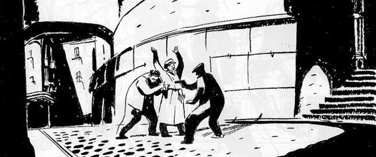 Arriba, el policía torturador de la comisaría de Vía Layetana Antonio Juan Creix golpea a Miguel Núñez. Abajo, la viñeta ilustra cómo los serenos fueron 'proveedores' de armas de la Agrupación Guerrillera de Catalunya.