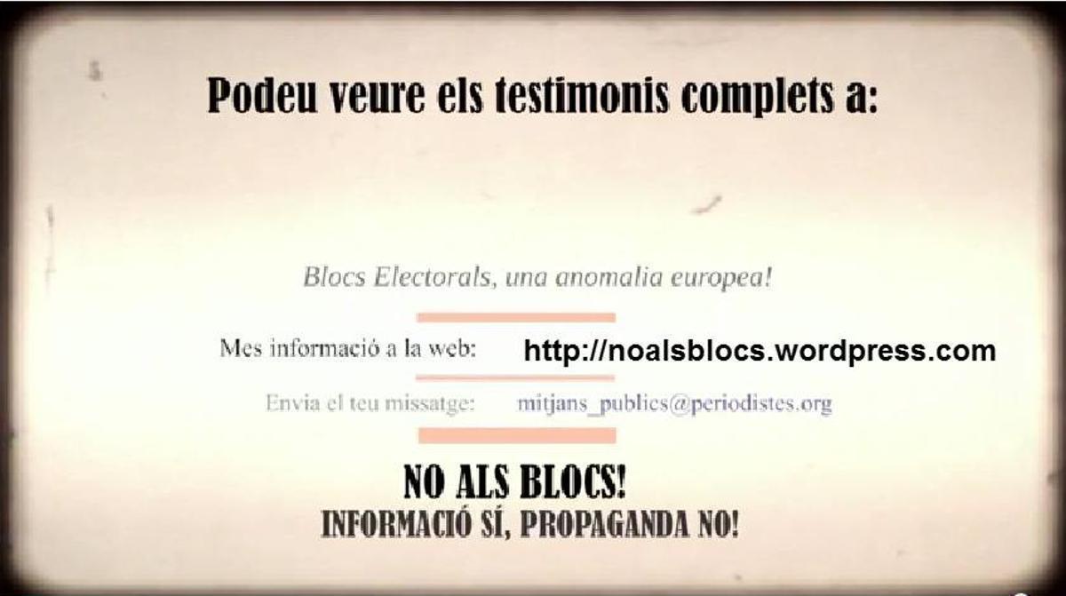 El vídeo del Col·legi de Periodistes contra los bloques electorales.