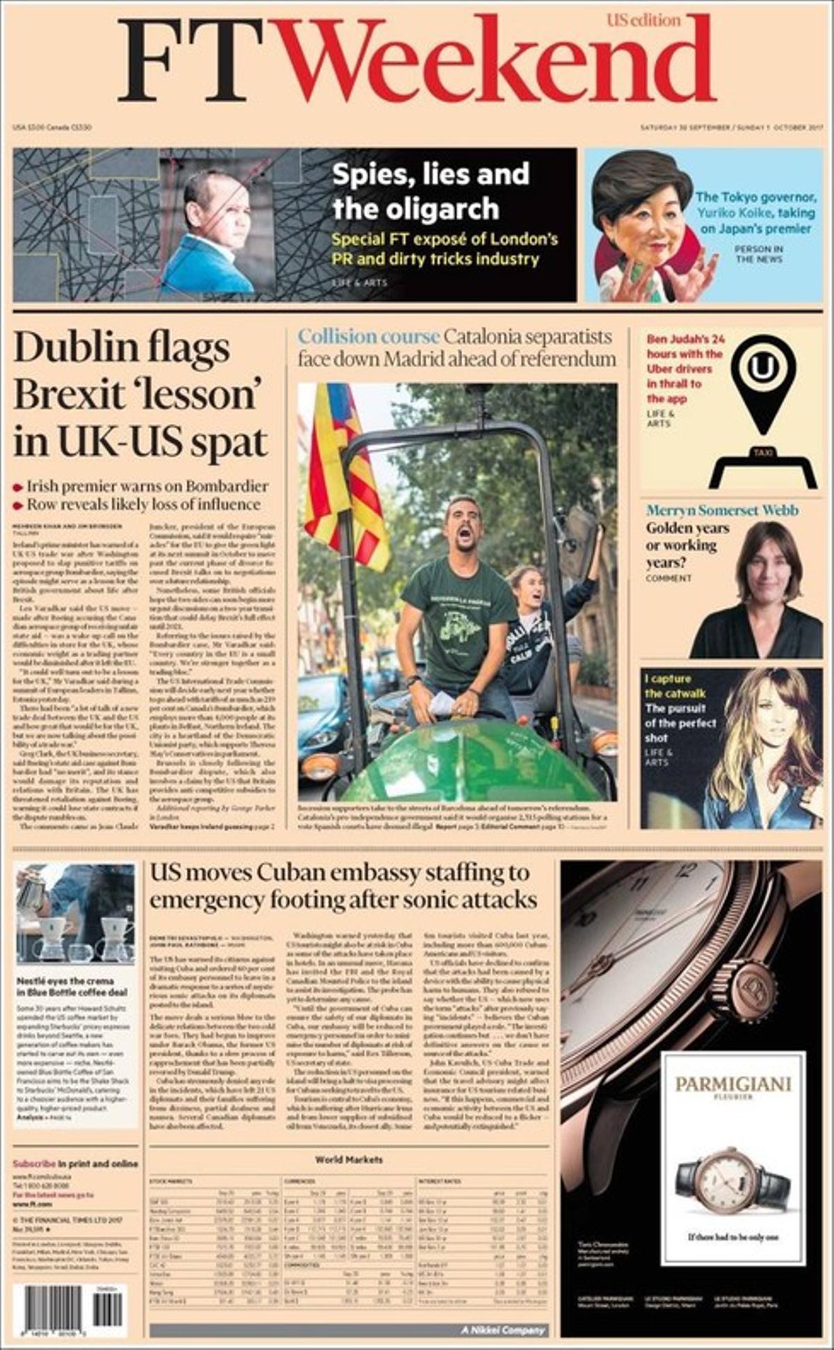 La portada de 'Financial Times' de este sábado, con foto dedicada al referéndum catalán.