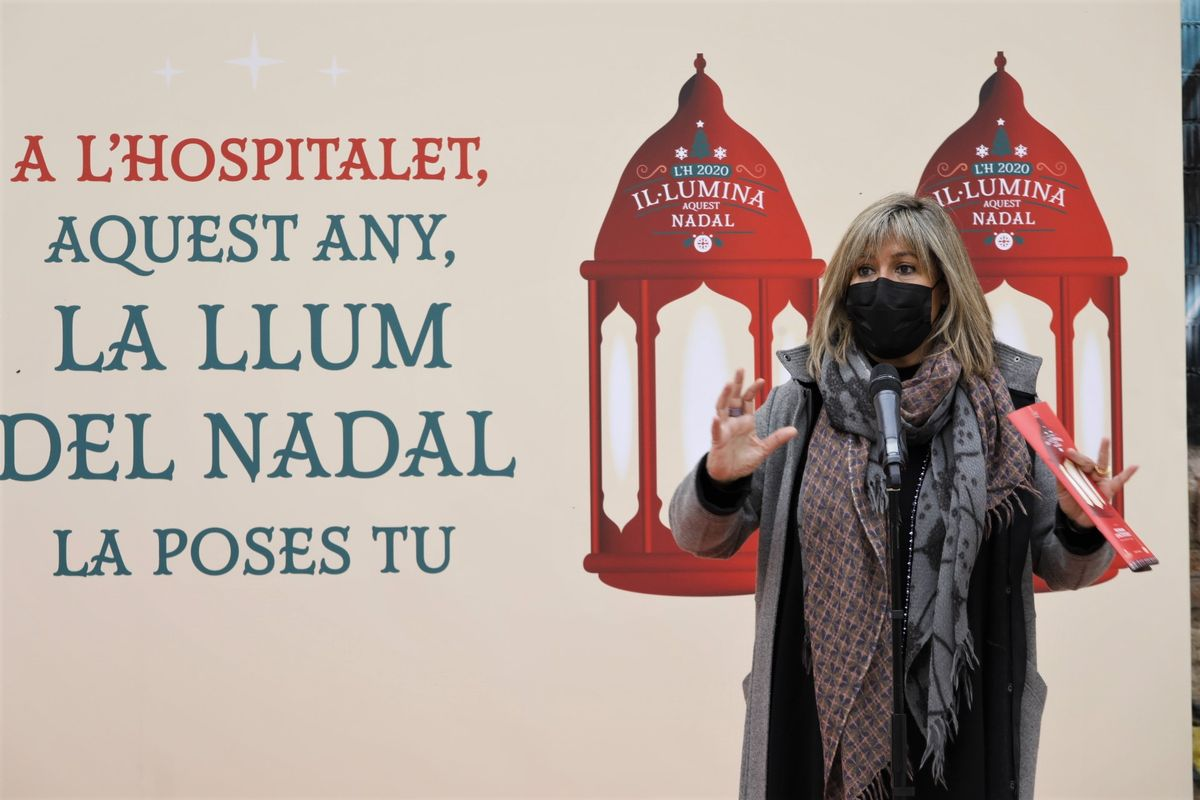 Núria Marín en la presentación de la campaña de Navidad de L'Hospitalet en 2020.