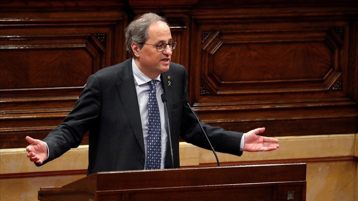 Torra, en el pleno del Parlament del pasado 27 de enero.