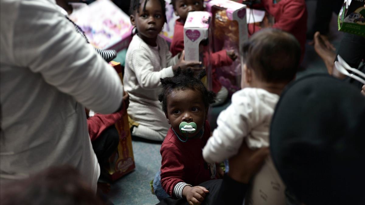 Fiesta infantil a bordo del 'Aquarius'.