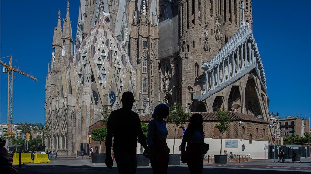 Inusual aspecto desértico de la Sagrada Família, la semana pasada.