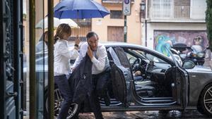 Rosell, a su llegada este jueves en València a la reunión con la junta directiva de la patronal autonómica valenciana.