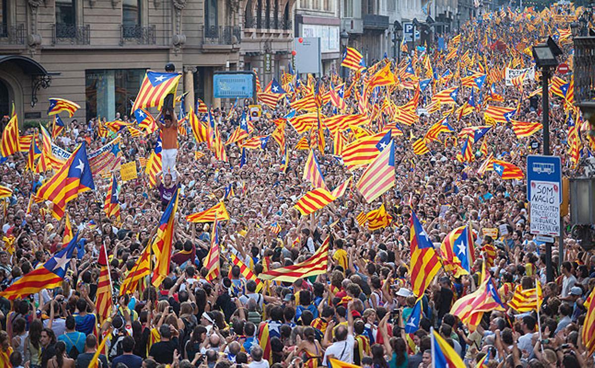 Manifestación por la independencia de Catalunya durante una Diada.