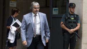 Joaquim Nin, secretario general de Presidència, tras prestar declaración ante la Guardia Civil.