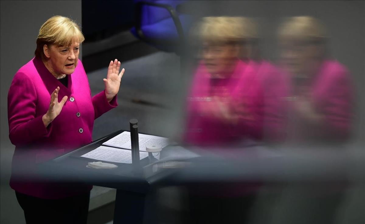 Angela Merkel, en el Bundestag.