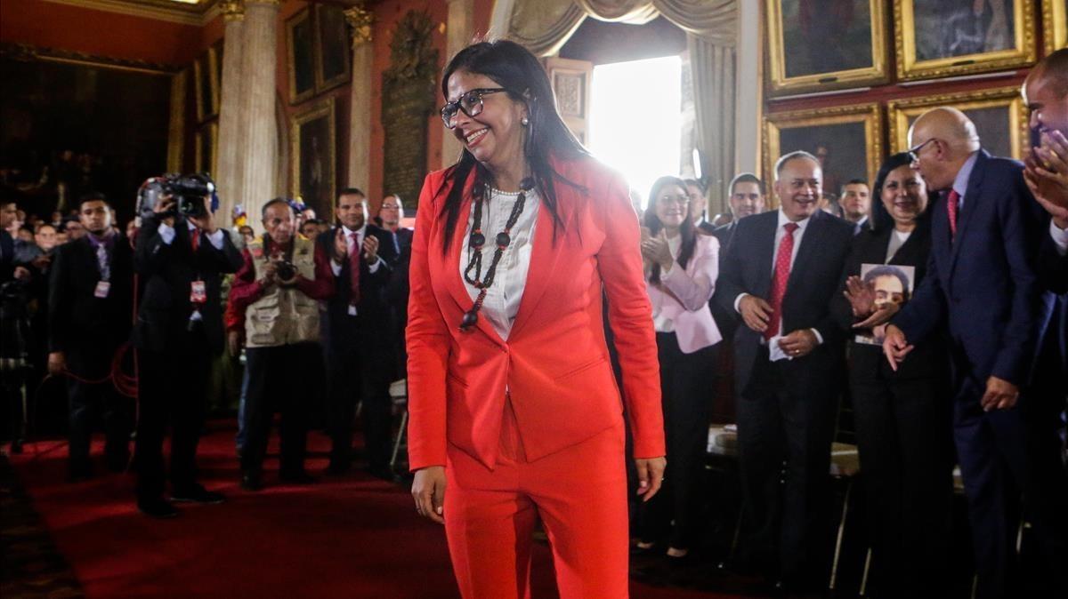Delcy Rodríguez asiste al acto de instalacion de la ANCen Caracas este viernes.