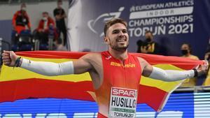 Husillos, nada más proclamarse campeón de Europa.