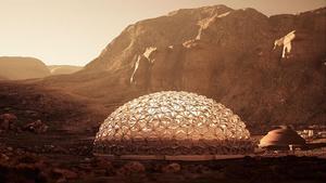 Representación artística de una cúpula de la ciudad de Nüwa, en Marte.