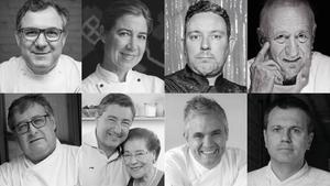 Algunos de los chefs que participarán este sábado en #GastroNadal2020: arriba, Albert Raurich, Ada Parelada, Albert Adrià y Carles Gaig; debajo, Fermí Puig, Joan Roca y su madre, Montserrat Fontané, Nandu Jubany y Oriol Castro.