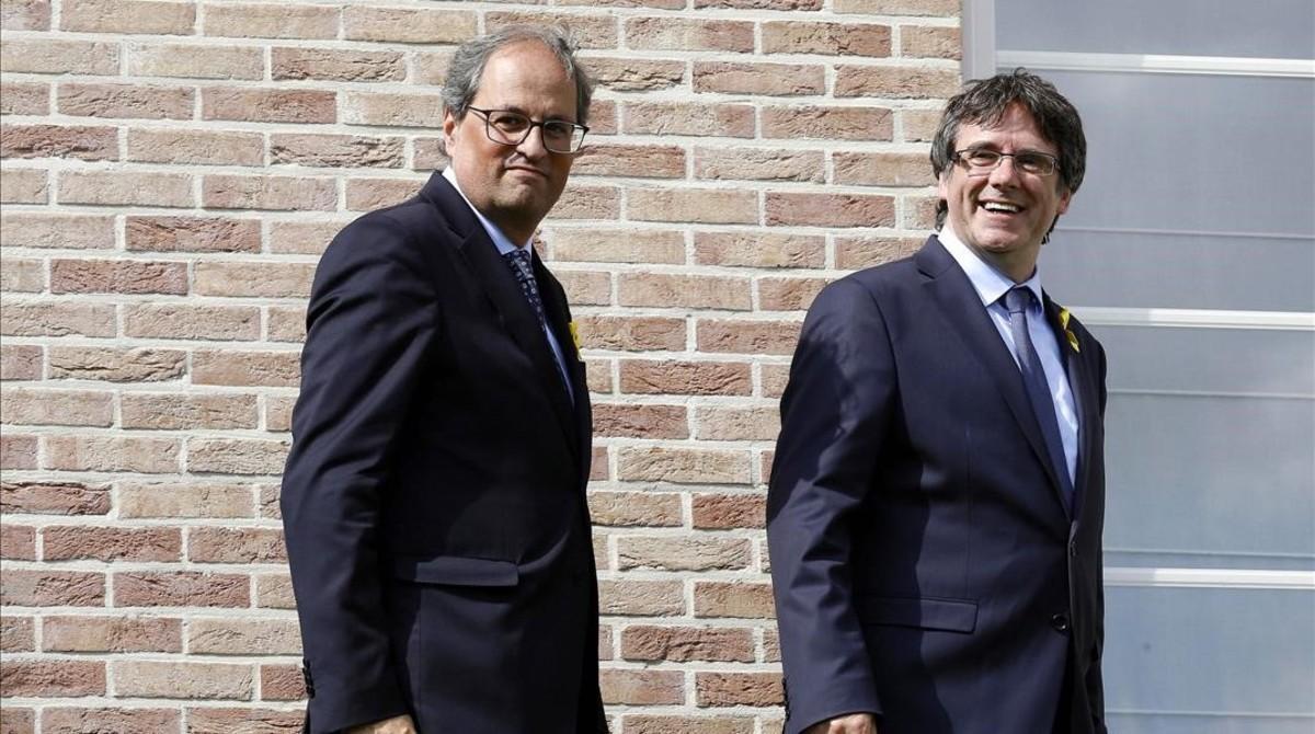 Carles Puigdemont y Quim Torra, el pasado julio, en Waterloo.