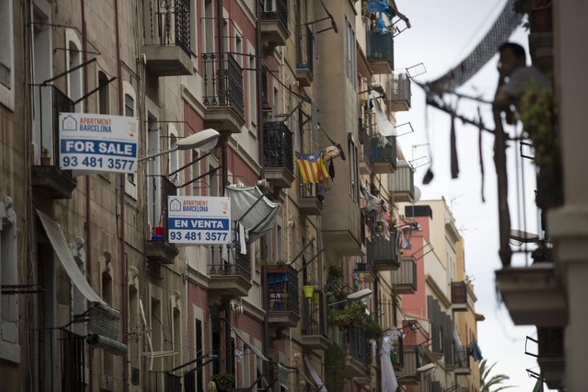 Anuncios de venta de pisos en castellano e inglés en una calle de la Barceloneta.