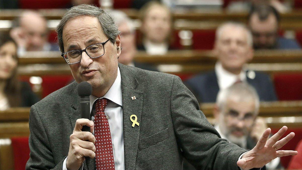 El 'president' Quim Torra, ayer, en el Parlament.