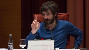 Oleguer Pujol, durante su declaración ante la 'comisión Pujol' del Parlament, en el 2015.