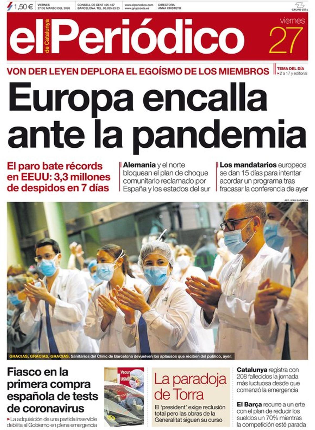 La portada de EL PERIÓDICO del 27 de marzo del 2020.