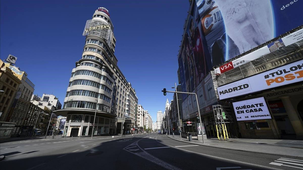 La Gran Vía de Madrid el pasado 2 de abril.