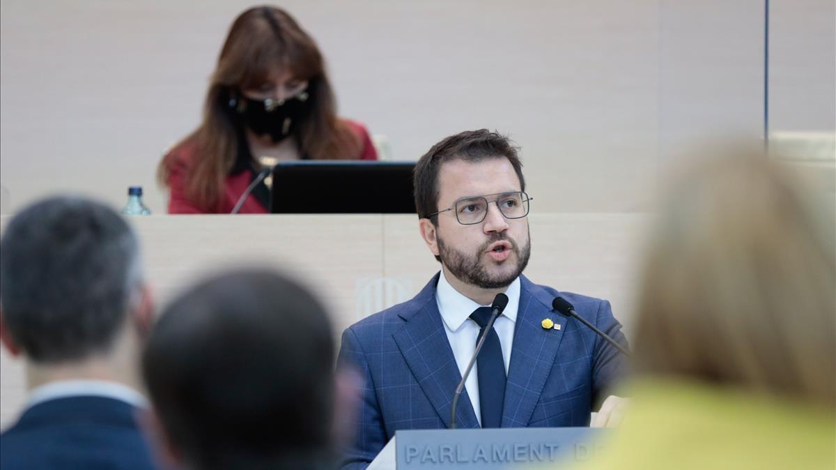 Pere Aragonès durante el segundo debate de investidura en el Parlament.