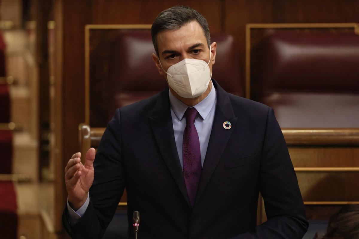 El presidente del Gobierno, Pedro Sánchez, interviene en una sesión del Congreso.