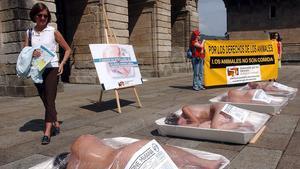 Protesta animalista en la plaza del Obradoiro de Santiago de Compostela.