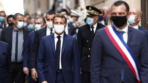 El presidente Macron durante una visita a la isla de Córcega el pasado jueves.