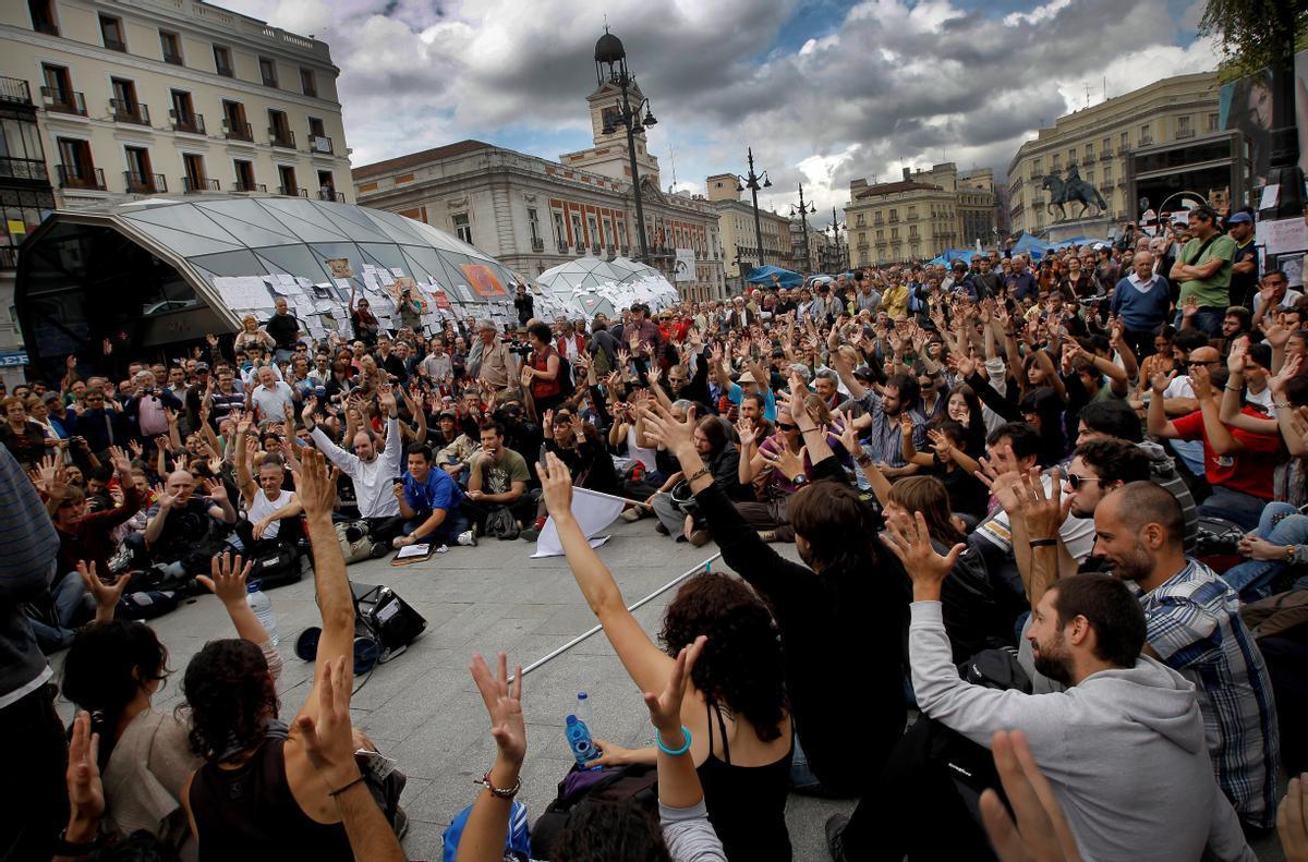 La Puerta del Sol, en Madrid, el 20 de Mayo de 2011.