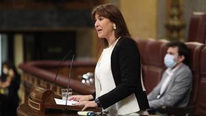 La portavoz parlamentaria de JxCat, Laura Borràs, en el Congreso de los Diputados este martes.