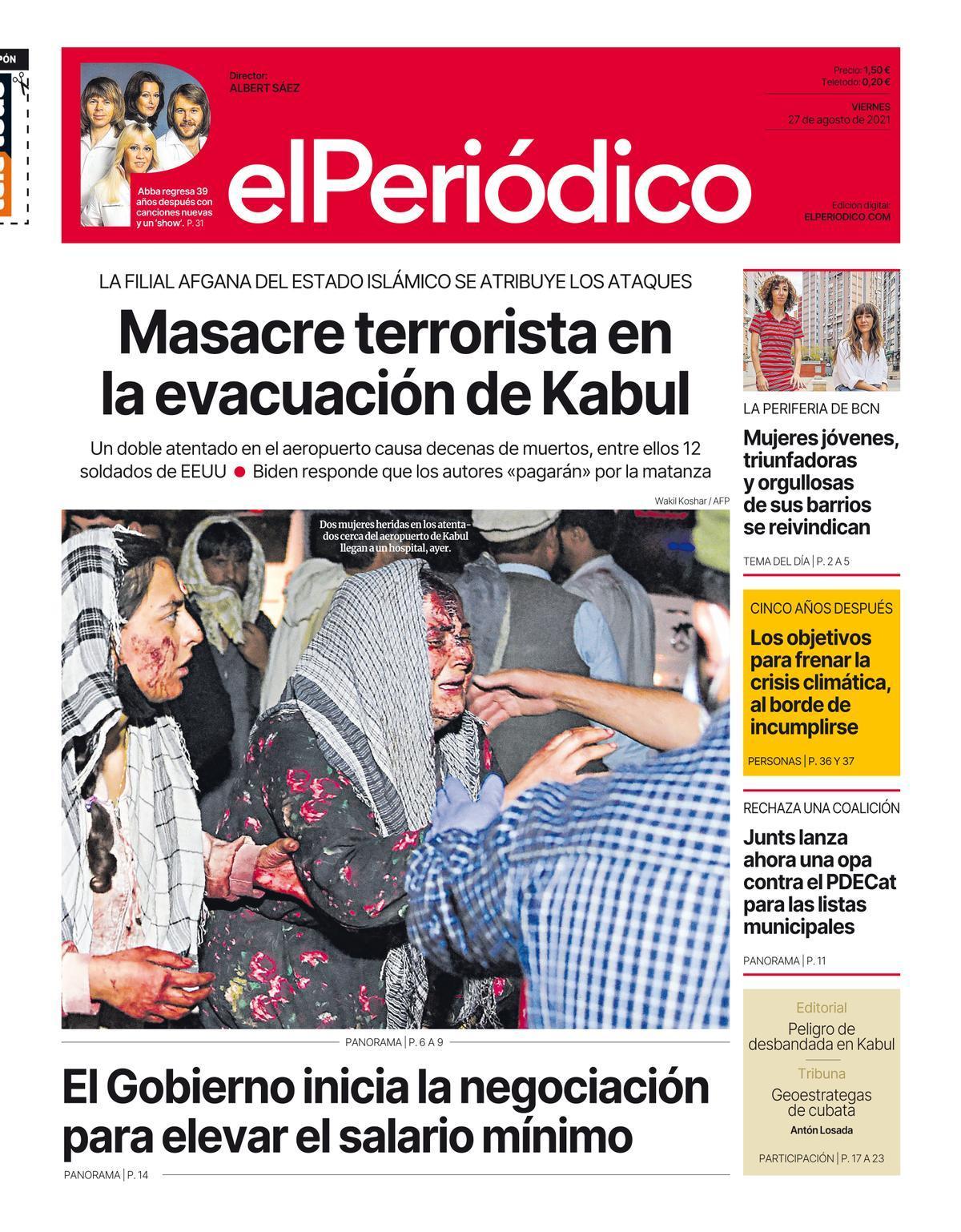 La portada de EL PERIÓDICO del 27 de agosto de 2021