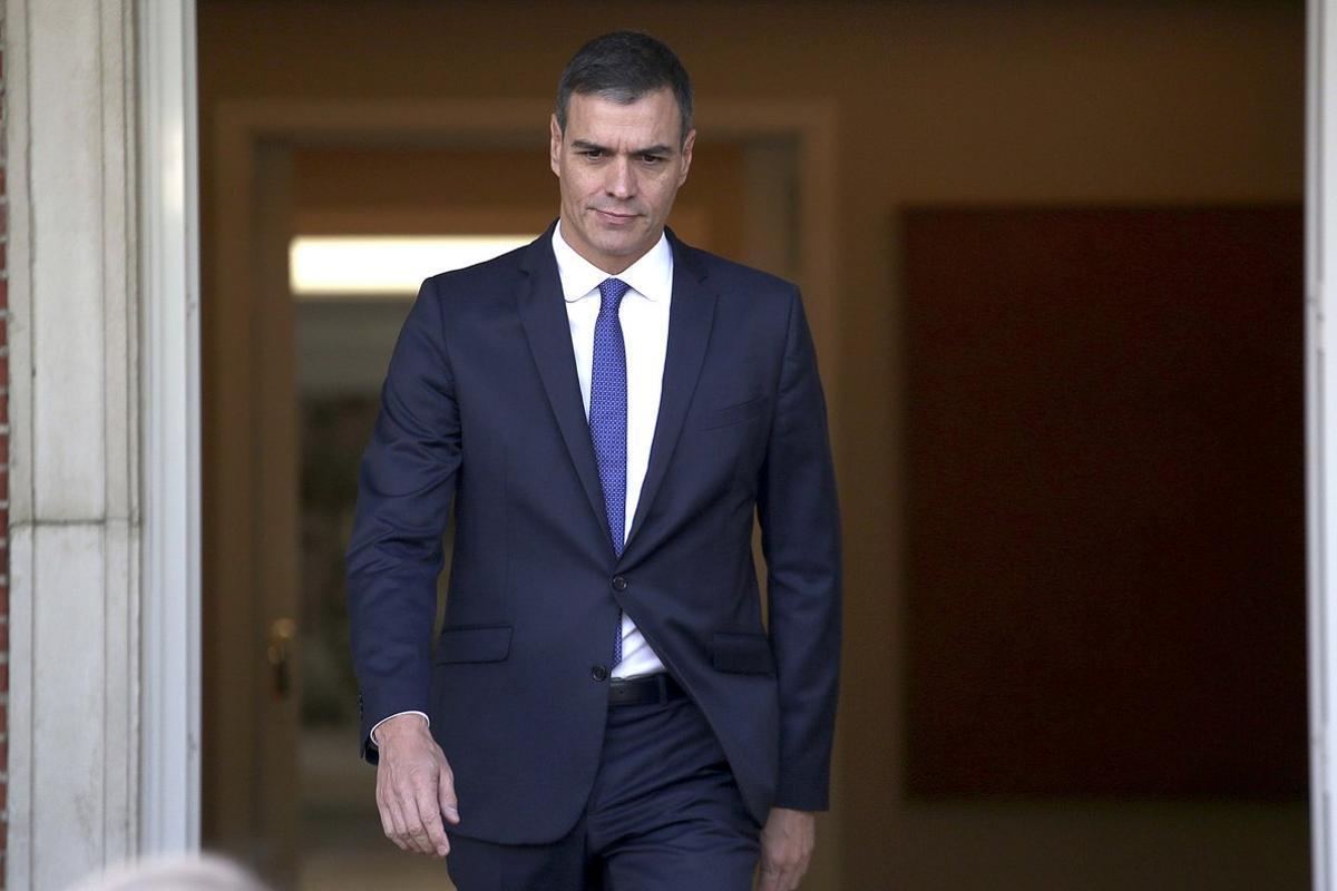El presidente del Gobierno en funciones, Pedro Sánchez, en el palacio de la Moncloa.