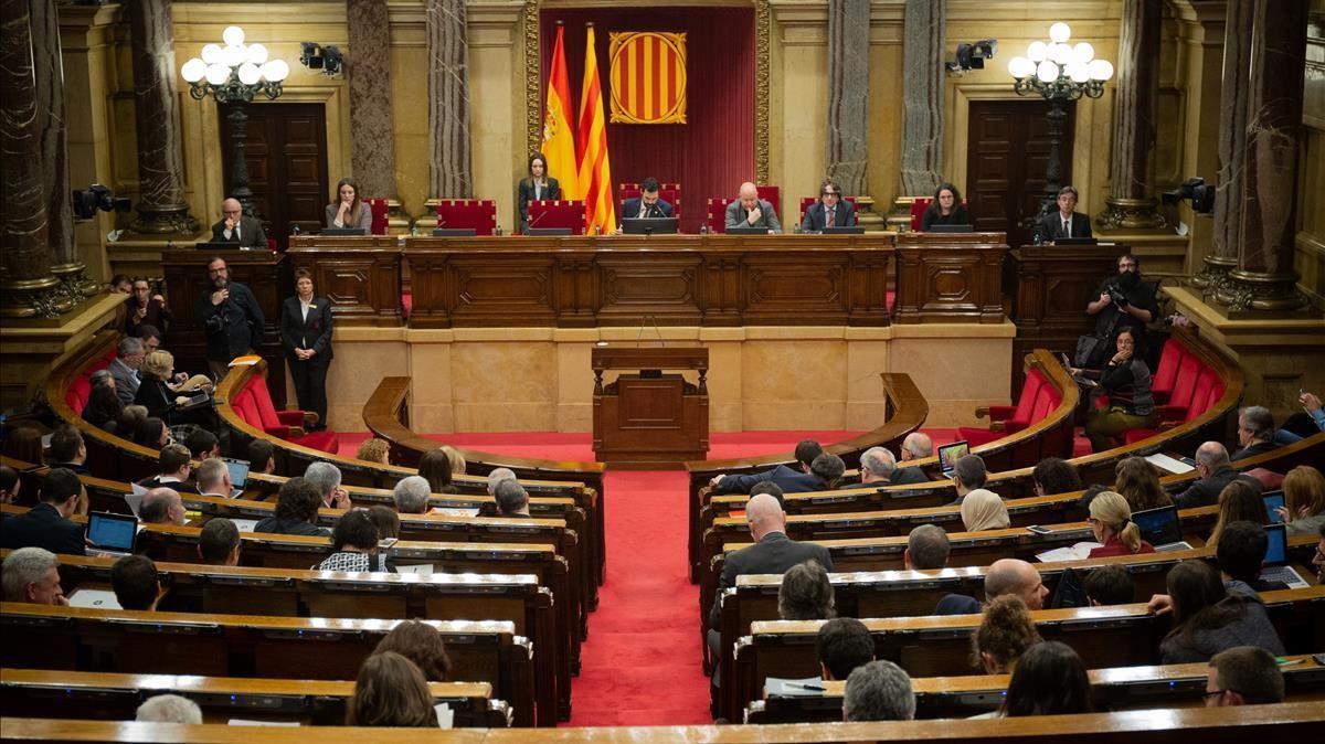 11 02 2020 Hemiciclo del Parlament de Catalunya durante una sesion plenaria  en Barcelona  Catalunya (Espana)  a 11 de febrero de 2020   POLITICA   David Zorrakino - Europa Press