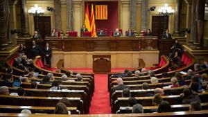 Hemiciclo del Parlament de Catalunya durante una sesión plenaria, el 11 de febrero pasado.