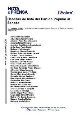 Cabezas de lista del PP para el Senado para las elecciones del próximo 28 de abril.