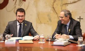 Pere Aragonès y Quim Torra, en la reunión del Govern.