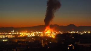 Momento de la explosión de la petroquimica de Tarragona