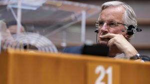 El negociador jefe de la UE, Michel Barnier, durante el pleno de este miércoles de la Eurocámara.
