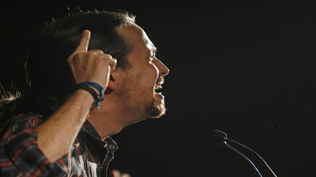 Pablo Iglesias en el mitin 'Sí que es pot',en Rubí.