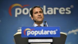 Teodoro García Egea, secretario general del PP, durante una comparecencia el 3 de septiembre ante los medios.