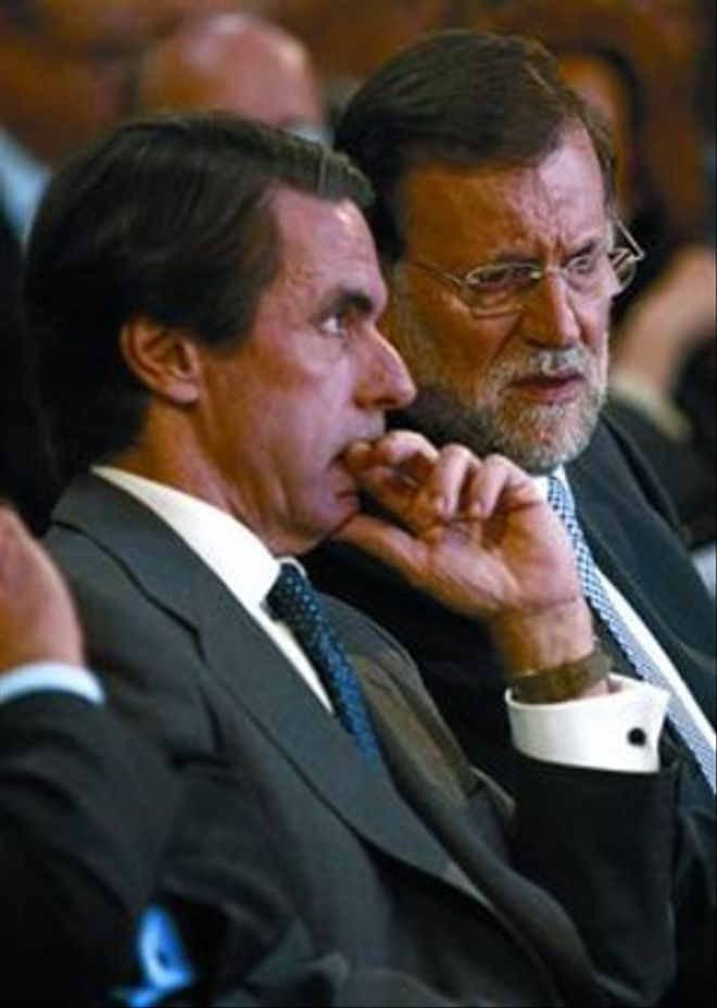 José María Aznar y Mariano Rajoy, en octubre del año pasado, en un acto de la fundación FAES.
