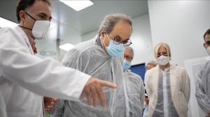 El presidente de la Generalitat, Quim Torra, durante la visita a Eurecat.
